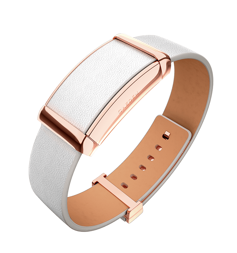 Sona - Rose Gold & White Leather - View